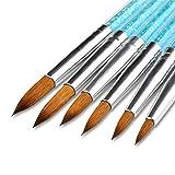 Lovenails | Acryl Pinsel Set 6-teilig | mit Strass im Griff | für Nailart Acryl Modellage | Katzenzunge Strassstein