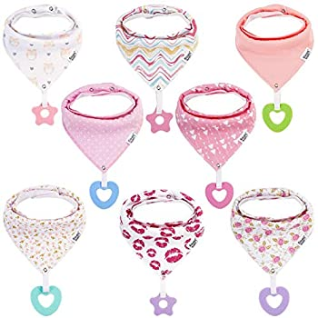 Baby Bandana Drool Bibs for Girls - 8-Pack Baby Bibs with Teething Toys/Teethers Set -Super Absorbent Organic Cotton Bibs for Baby Girl