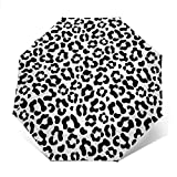 DXZ-Design Mini paraguas pequeño compacto automático negro y blanco redondo de lunares, paraguas plegable portátil plegable con protección UV para sol, lluvia, mujeres y hombres