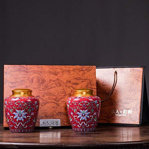 Ksnrang Keramik-Teedosen, emaillierte kandierte Obstdosen, allgemeine Aufbewahrungsdosen, Sammlung hochwertiger Geschenksets, Private Anpassung-Hallo Red-Set