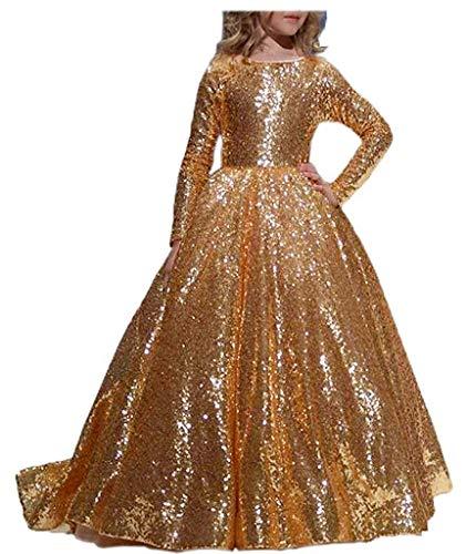 CDE Vintage Lang Kinder Paillettenkleid mit Langarm Cocktailkleid Festliches Kleid für Mädchen 2-13 Jahr (Gold, Größe 10)