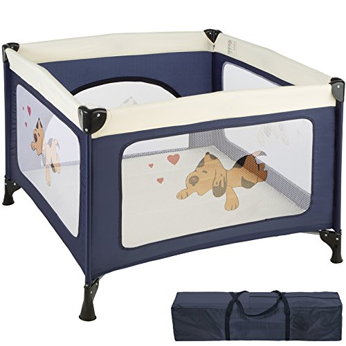 TecTake Portable Child Baby Infant Playpen Travel Cot Bed Crawl Play Area New - Different Colours - (Blue | No. 402205)