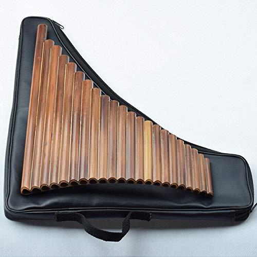 XUXUN 22 Tubos de bambú Amargo Mano Izquierda de Flauta Woowind Instrumento Panpipes Flauta Hecha a Mano del Bolso de Cuero Panflute (Color : F Key Left Hand)