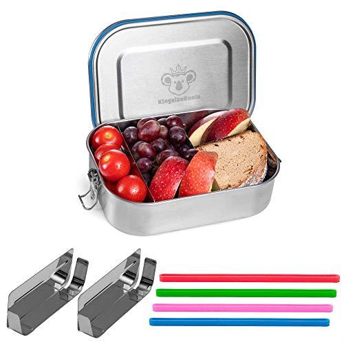 KingsizeKoala® Premium Personalisierte Edelstahl Brotdose [1400ml] | BPA frei | 2 herausnehmbare Trennwände & 3 Fächer | + GRATIS 4 Farbringe
