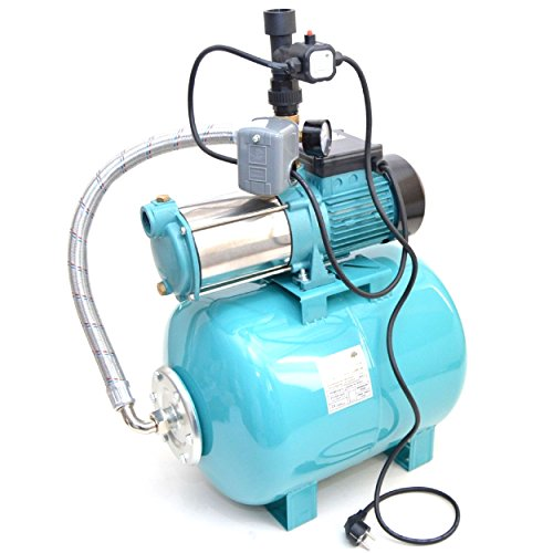Hauswasserwerk 50L m. 1300W INOX Pumpe + Trockenlaufschutz Hauswasserautomat