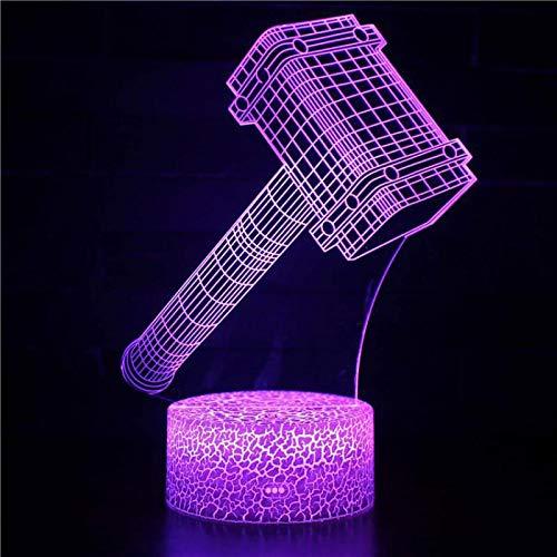 WisdomMi nachtlampe kinderzimmer, 3D 16 Farben - goldener Uhren - schwarzer Bluetooth Lautsprecher - Anime Thors Hammer - Lampe Geschenke Nachtlicht Spielzeug Farbwechsel mit Fernbedienung oder Touch