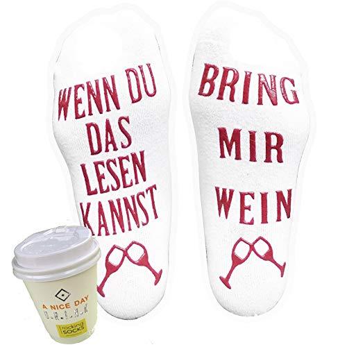Süße Luxus Wein Socken! Wenn du das lesen kannst bring mir Wein - Lustiges Socken Geschenk in Geschenkverpackung - Für Weinliebhaber, Geburtstags-geschenk für Frauen, Wein-Zubehör (Weiss)