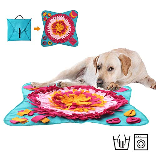 """Snuffle puzzle mat for dogs Large(28""""x28""""), Dog snuffle mat, Dog sniff mat, Forging Dog Mat, Interactive Feeding Mat, Dog Activity Mat, Treat Puzzle Toy, Slow feeder, Dog Nosework, Stress Release"""