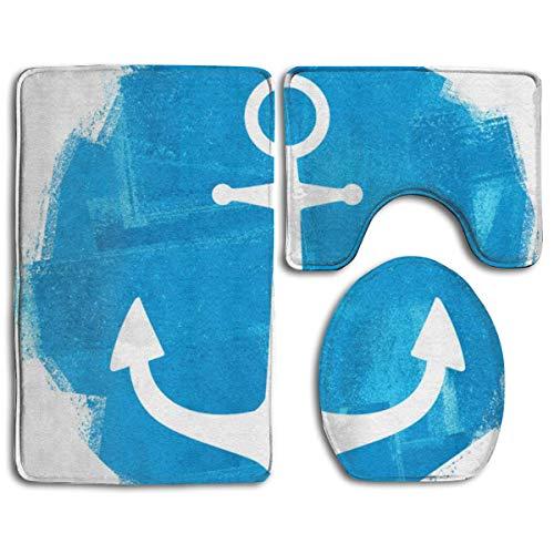 N/A Zeeman Ocean Blue Anchor 3 Pack Badmat Set Antislip Flanel voor Mannen en Vrouwen Antibacteriële Toilet Stoelen, Badkamer Tapijten, Badkamer Accessoires