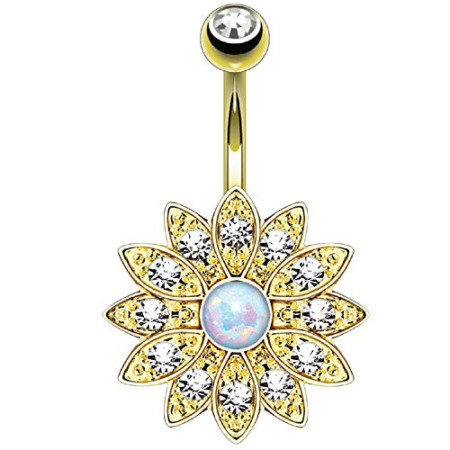 BodyJ4You Belly Button Ring Flower White Created-Opal Stone 14G Navel...