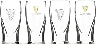 Guinness Gravity 20 Ounce Embossed Pint Beer Glasses 14K Gold Harp Logo / 4 Pack