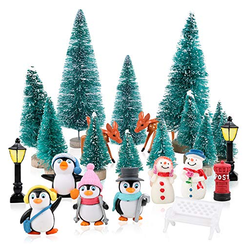 FLOFIA 24 tlg. Mini Deko Weihnachtsbaum Miniatur Garten Deko Miniatur Puppenhaus Mini Weihnachten Deko Weihnachtsfiguren Mini Tannen-Christbaum Schneemann Elch Pinguin Mikrolandschaft Mini Tischdeko