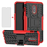 Phone Case for Oneplus 7 6T with Tempered Glass Screen Protector Cover and Stand Hard Rugged Hybrid Cell Accessories Oneplus6T A6013 Oneplus7 GM1900 One Plus6T 1+ Plus7 1 Plus 1plus Cases Black Red
