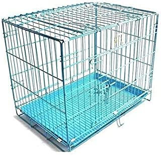 RvPaws Metal Cage Iron and Plastic Cage with Removable Tray for Dogs and Rabbits - 36 Inch blue