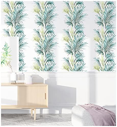 HaokHome 93054-1 - Papel pintado de hojas de palma, color blanco/verde/azul, extraíble para decoración de habitación de guardería, 45 x 299 cm