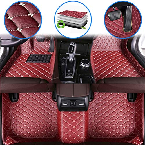 maiqiken Custom Car Floor Mats for Nissan Leaf 2011-2012, 2017-2019 Luxury Leather Waterproof Anti-Slip Full Coverage Front & Rear Cushion/Set (Wine red)
