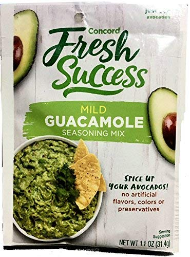 Concord Foods Mild Guacamole Seasoning Mix 1.1oz packages (VALUE Case of 18 Packages)