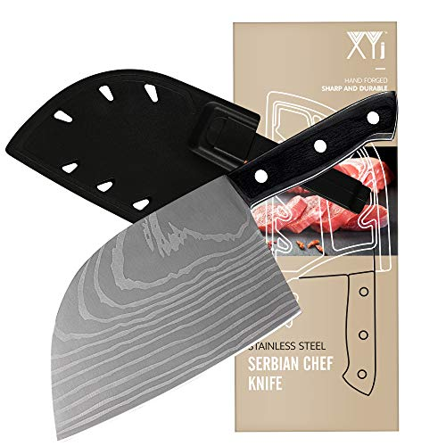 XYJ Serbian Chef Knife 7 inch Butcher Knife 3CR13 Stainless Steel Laser Pattern Blade Full Tang Meat Cleaver with Blade Protectors Carrying Knife Sheath Kitchen Chopping Knife