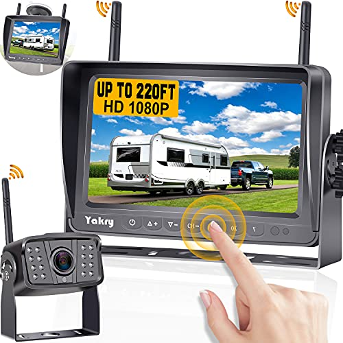 RV Backup Camera Wireless HD 1080P with 7 Inch Touch Key DVR Monitor...