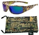 Hornz Brown Camuflaje del Bosque polarizados Gafas de Sol Hombres Full Frame Sport par Brazo & Free Matching Microfiber Pouch – Marco de Marrón Camo - Lente Azul