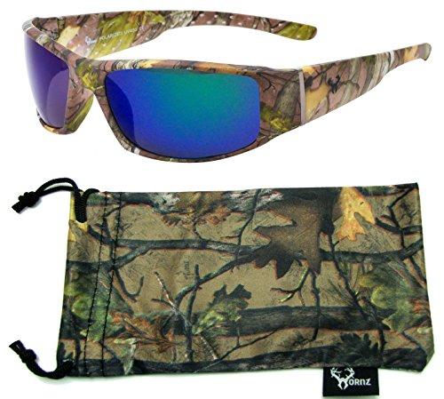 Hornz Forrest braun Camouflage polarisierten Sonnenbrillen für Männer volle Breite Arm Sport Rahmen & Free Matching Microfiber Pouch – Braun Camo Rahmen –Blaue Linse