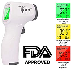 AuLinx Digital IR Infrared Non-Contact Thermometer Gun for Baby Adult Forehead, Ear and Body Tempurature with Fever Alarm Three Color LCD Screen and Memory Function Silent Mode C and F