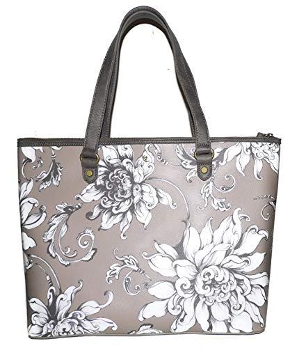 ELLIOTT LUCCA Light Brown Wildflower Floral Aria Handbag 107750
