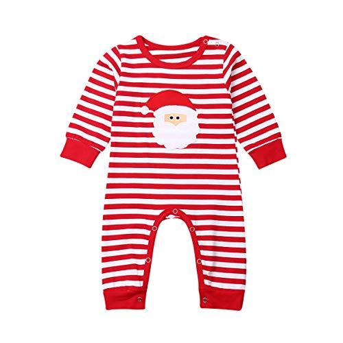 Body para Bebé Recién Nacido Unisex Invierno Navideño Mameluco Bebé Navidad Manga Larga con Dibujo Papá Noel y Alce Mono Bebé Unisex para Niños de 0-24 Meses (Papa Noel, 0-3 M)
