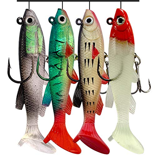 OPQ Fishing Soft Plastic Lures Fishing Gear Equipment for Freshwater Saltwater Trout Bass Salmon Jig Head Soft Swimbait Fishing Baits Set with Tackle Box (4pcs Ta)