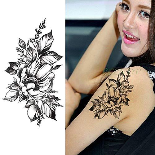 Handaxian 3PCS-Waterproof Tattoo Sticker Gun Fiore Rosa Tattoo Tattoo Mano Braccio Piede Tattoo Girl Woman Woman Violet