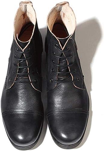 ZHRUI Stiefel de Cordones para Hombre Suela Blanda Antideslizante Durable Transpirable Stiefel de Cuero Genuino (Farbe   schwarz, tamaño   EU 39)