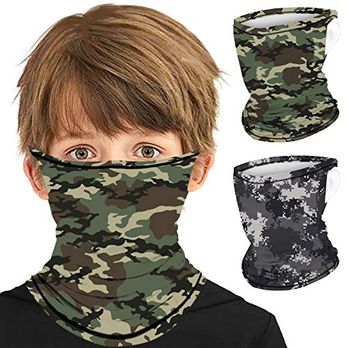 2Pcs Face Scarf Bandana Ear Loops Face Rave Balaclava Face Cover Kids Youth Neck Gaiters for Dust Wind Sun UV
