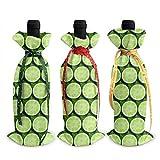 YANPING 3 pièces Couvercle de Bouteille de vin Citron Vert tranches de Fruits décoration Sacs de Couverture décoration de Table pour la fête de noël dîner décoration Cadeau