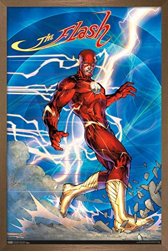 Trends International DC Comics - The Flash - Jim Lee Wall Poster, 14.725' x 22.375', Bronze Framed Version