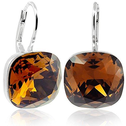 Ohrringe mit Kristallen von Swarovski® Silber Braun NOBEL SCHMUCK