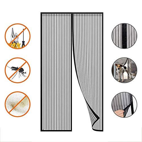 Magnetische Fly Screen Deur, Houd Bugs buiten, Geen boren, Handen Gratis Heavy Duty Gordijn, Magnetische Sluiting Volledige Frame,Ademend Net voor Balkon Deur, Woonkamer-Zwart 125x240cm(49x94inch)