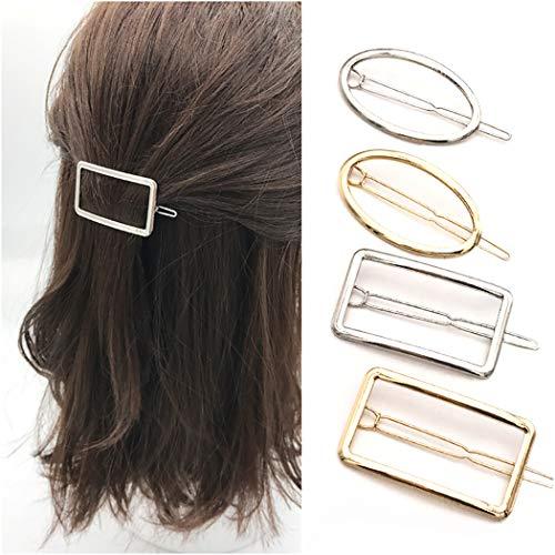 COSYOO 4 Stuks metalen Geometrische Haarspeld Creatieve Ovale Rechthoek Haarspeld Legering Haaraccessoires voor Vrouwen