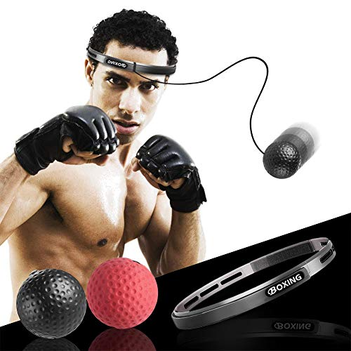 Boxen Training Reflex Box Ball mit Stirnband Reflexball Speed Boxing Kopf Stirn, Fight Training Tennisball Boxtraining Boxball Speedball - Dekompression Kopfband Trainingsball Fightball Sport, 2 Bälle