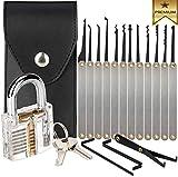 Professional Locksmith Practice Tool Lock Set Training Supplies Kit Multitool with Flashlight & Transparent Padlock for Beginners (17 pcs)