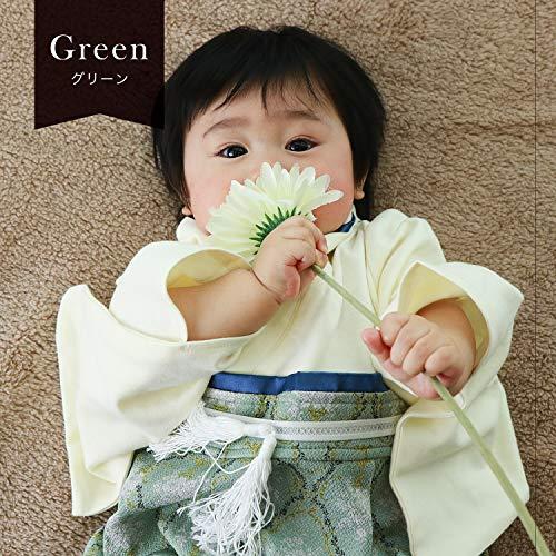 SweetMommy袴ロンパースベビー着物カバーオール日本製ダマスク柄ちりめんオーガニックコットン身頃男の子グリーン50-70