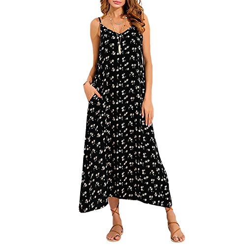 Women Spaghetti Strap Maxi Dresses - Ladies Casual Floral Print Dress -Loose Back Low Vacation Clothes (L, Black)