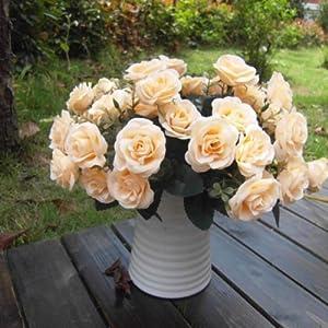 Liangxiang Artificial 1 Bouquet / 12 Heads Silk Rose Flower Leaf Wedding Party Bridal Decor