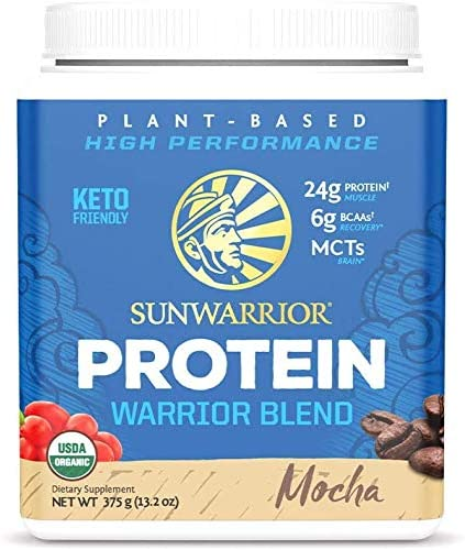 Sunwarrior Warrior Blend Plant Based Raw Vegan Protein Powder with Peas Hemp Mocha 15 Servings product image