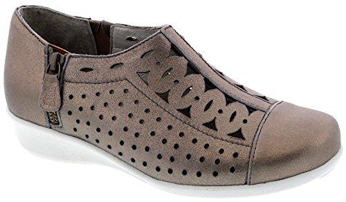 Drew Shoes Merlin Women's Therapeutic Diabetic Extra Depth Shoe: Taupe/Dusty Leather 10.5 X-Wide (2E) Zipper