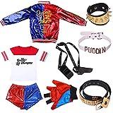 Harley Quinn disfraz Suicide Squad para mujeres adultas, vestido de fantasía de Halloween camiseta pantalones cortos con accesorios Set de 9 piezas