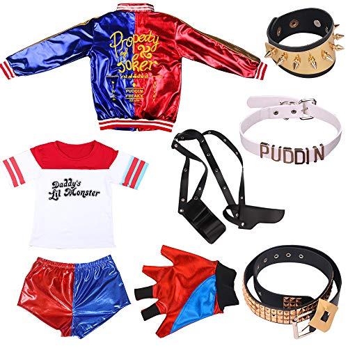 OPM Harley Quinn Kostüm Suicide Squad für Erwachsene Mädchen Frauen, Halloween Phantasie Kleid T-Shirt Jacke Shorts mit Zubehör 9PCS Set… (M)