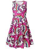 uideazone Little Girls Unicorn Rainbow Sleeveless Dress for Summer Birthday Casual