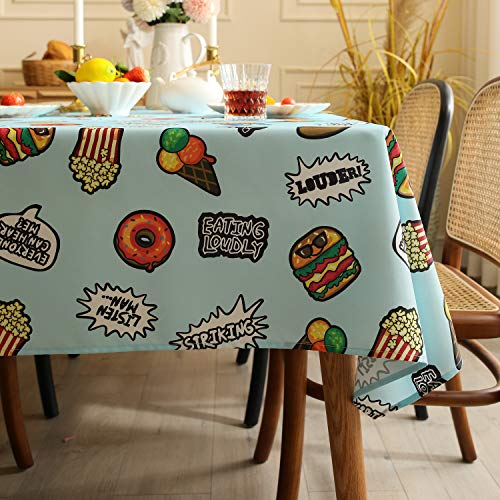 Joyfol Day Rectangle Tablecloth,Pattern in Hand Drawn Doodle Style Pizzeria Menu Fast Food Delicious Gourmet Eating,Decorative Washable Picnic Outdoor Table Cloth (Blue,60 X 102 INCH)