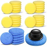 30 Pieces Applicator Cleaning Pads Yellow Car Polishing Pads Car Blue Wax Applicator Pads Soft Buffing Sponge Pads with Handle for Cars Polishing and Waxing