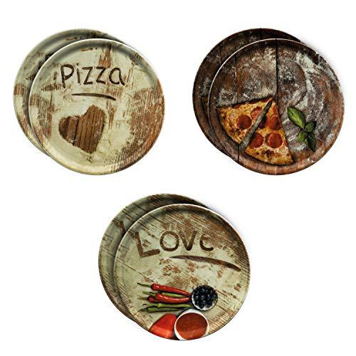 MamboCat 6-er Set Pizzateller Ø 31cm Volldekor Motive Lieblings-, Oliven- & Salami Pizza I große Teller aus Porzellan zum Anrichten für Pizza und Co oder zum Servieren als Wurst und Käseplatten